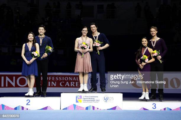 Second place winner Maia Shibutani and Alex Shibutani of United States first place winner Tessa Virtue and Scott Moir of Canada and third place...