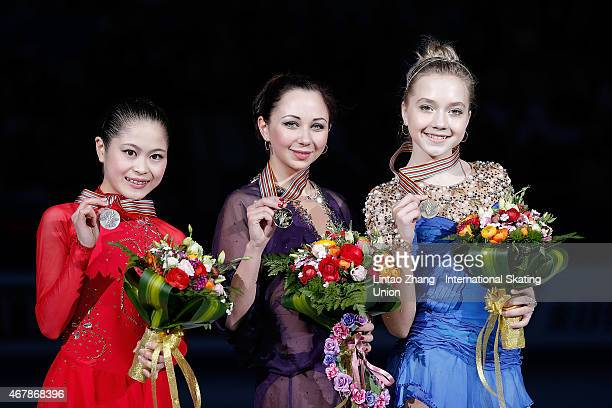 Second place winner Satoko Miyahara of Japan First place winner Elizaveta Tuktamysheva of Russia and Third place winner Elena Radionova of Russia...
