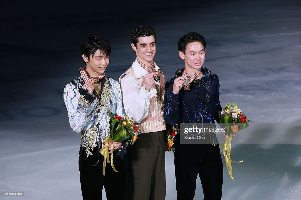 Second place winner Yuzuru Hanyu of Japan, first place winner Javier Fernandez of Spain, third place winner <a gi-track='captionPersonalityLinkClicked' href=/galleries/search?phrase=Denis+Ten&family=editorial&specificpeople=5776186 ng-click='$event.stopPropagation()'>Denis Ten</a> of Kazakhstan pose for photo after the metal ceremony of Ice Dance-Man Free Skating Program on day four of the 2015 ISU World Figure Skating Championships at Shanghai Oriental Sports Center on March 28, 2015 in Shanghai, China.