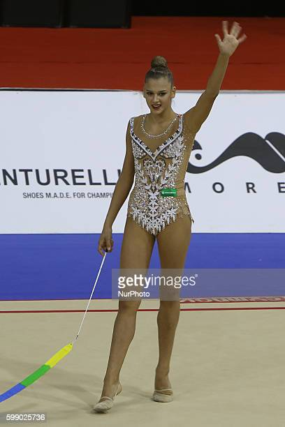 Second placed Aleksandra Soldatova of Russia performs with the ribbon during the final of the FIG Rhythmic Gymnastics World Cup in Lisbon Portugal on...