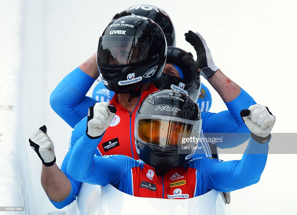Second placed Alexander Zubkov, Alexey Negodaylo, Dmitry Trunenkov and Maxim Mokrousov of Russia celebrates after the Four Men Bobsleigh final heat of the IBSF Bob & Skeleton World Championship at Olympia Bob Run on February 3, 2013 in St Moritz, Switzerland.