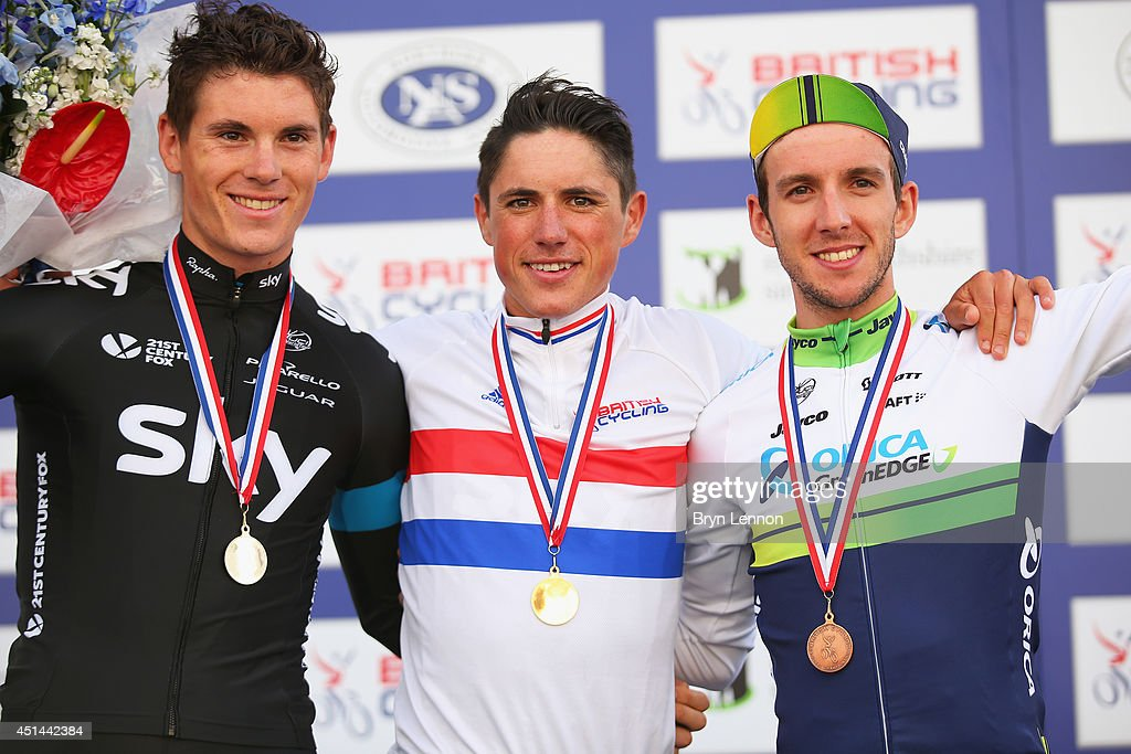 Second placed <a gi-track='captionPersonalityLinkClicked' href=/galleries/search?phrase=Ben+Swift&family=editorial&specificpeople=2642420 ng-click='$event.stopPropagation()'>Ben Swift</a> of Team SKY, winner <a gi-track='captionPersonalityLinkClicked' href=/galleries/search?phrase=Peter+Kennaugh&family=editorial&specificpeople=5542463 ng-click='$event.stopPropagation()'>Peter Kennaugh</a> of Team SKY and third placed <a gi-track='captionPersonalityLinkClicked' href=/galleries/search?phrase=Simon+Yates+-+Ciclista&family=editorial&specificpeople=13316516 ng-click='$event.stopPropagation()'>Simon Yates</a> of Orica-GreenEdge celebrate on the podium after the Elite Men British National road race championships on June 29, 2014 in Abergavenny, Wales.