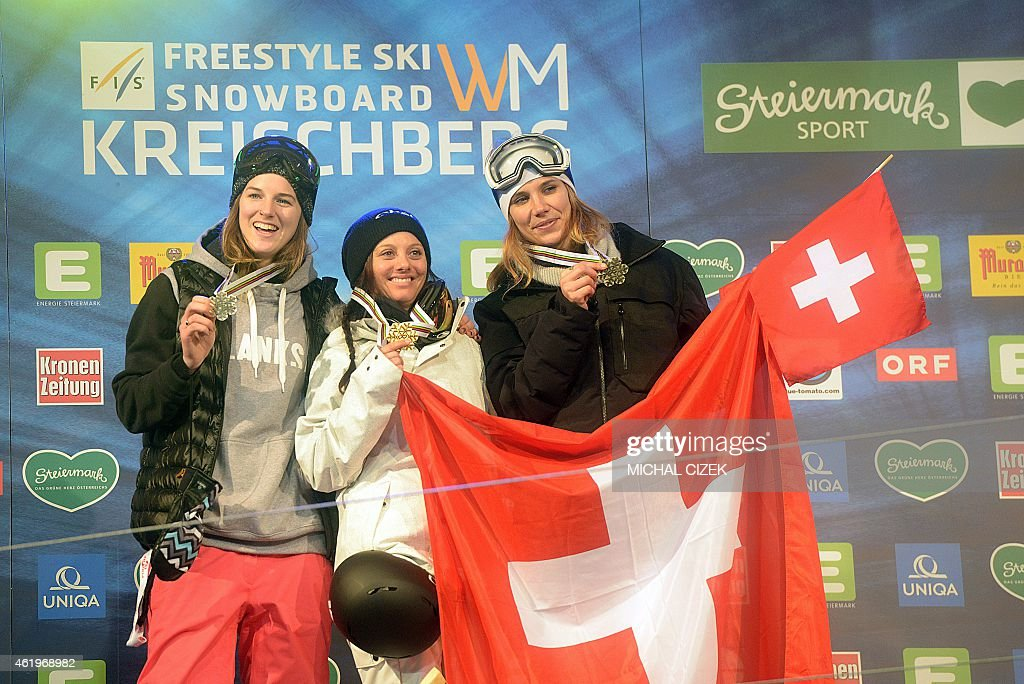 Second placed Cassie Sharpe of Canada, winner <a gi-track='captionPersonalityLinkClicked' href=/galleries/search?phrase=Virginie+Faivre&family=editorial&specificpeople=786060 ng-click='$event.stopPropagation()'>Virginie Faivre</a> of Switzerland and third placed Mirjiam Jaeger of Switzerland celebrate at the podium after the Women's Ski Halfpipe Final at FIS Freestyle and Snowboarding World Ski Championships in Kreischberg, Austria on January 22, 2015.