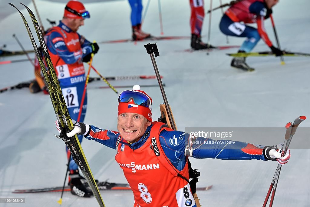 Second placed Czech Republic's Ondrej Moravec reacts after the Men 15 km Mass Start at the IBU Biathlon World Championship in Kontiolahti, Finland on March 15, 2015.
