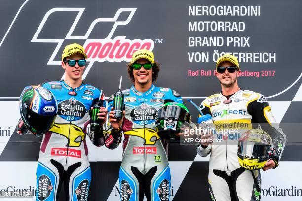 Second placed EG 00 Marc VDS' Spanish rider Alex Marquez winner EG 00 Marc VDS' Italian rider Franco Morbidelli and third placed CarXpert...