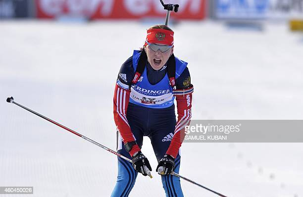 Second placed Ekaterina Glazyrina reacts in finish area of the the women 10 km pursuit at the IBU World cup in biathlon in Hochfilzen on December 14...