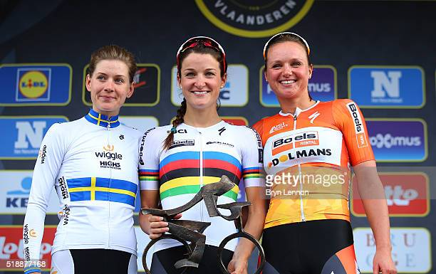 Second placed Emma Johansson of Sweden and Wiggle High 5 race winner Lizzie Armstead of Great Britain and Boels Dolmans and third placed Chantal...