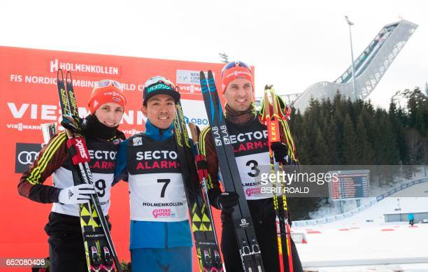Second placed Eric Frenzel of Germany winner Akito Watabe of Japan and third placed Bjoern Kircheisen of Germany pose after the Nordic Combined...