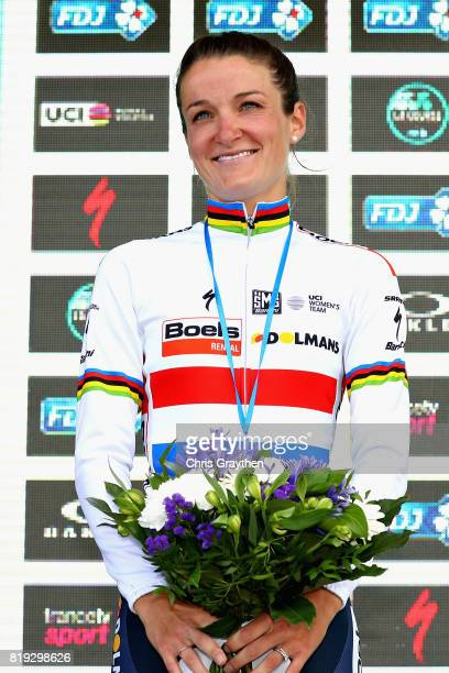 Second placed finisher Lizzie Deignan of Great Britain and Boels Dolmans CyclingTeam celebrates on the podium on the first stage of the 4th La Course...