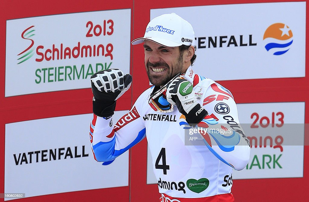 Second placed France's Gauthier De Tessieres celebrates during the podium ceremony after the men's Super-G event of the 2013 Ski World Championships in Schladming, Austria on February 6, 2013.
