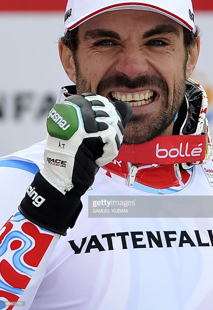Second placed France's Gauthier De Tessieres celebrates on the podium after the men's Super-G event of the 2013 Ski World Championships in Schladming, Austria on February 6, 2013.