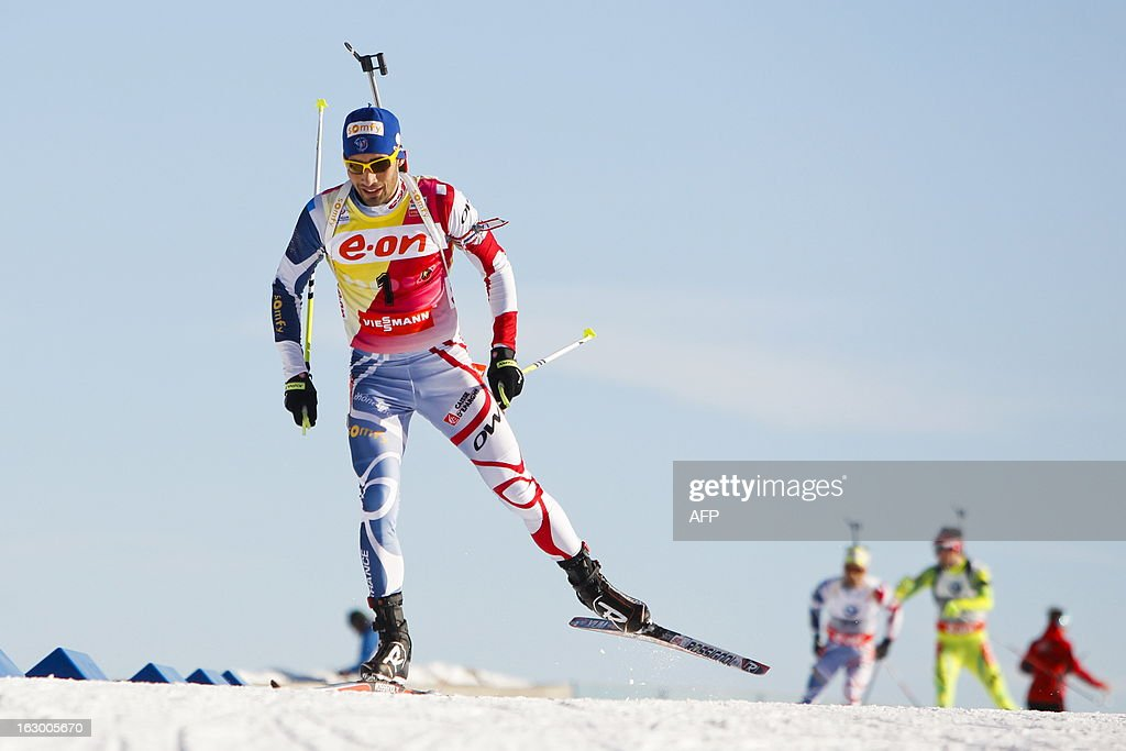 Second placed France's Martin Fourcade competes during the men's 15 km mass start race Biathlon World Cup in Oslo on March 3, 2013. Czech's Ondrej Moravec won and Germany's Erik Lesser placed third in the event.