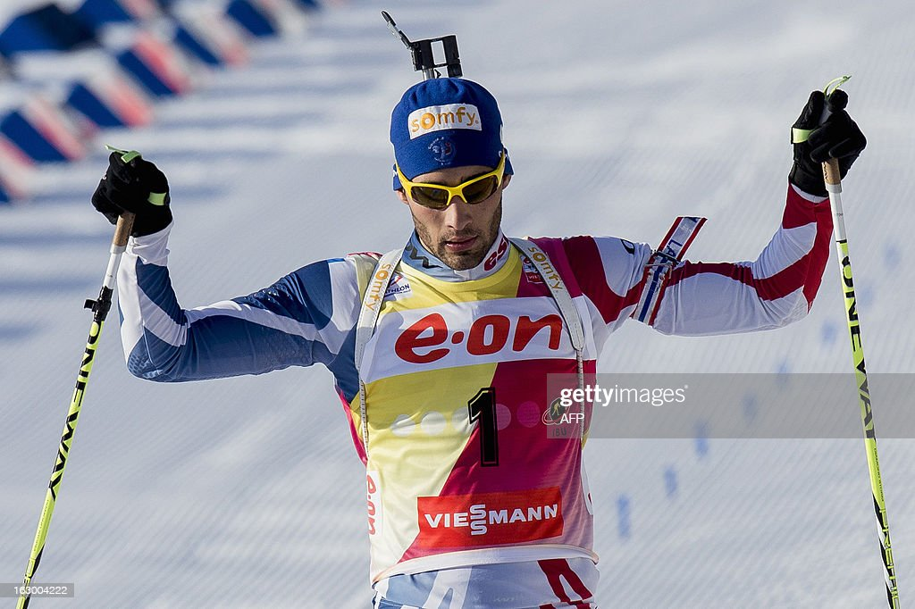 Second placed France's Martin Fourcade reacts after competing in the men's 15 km mass start race Biathlon World Cup in Oslo on March 3, 2013. Czech's Ondrej Moravec won and Germany's Erik Lesser placed third in the event.