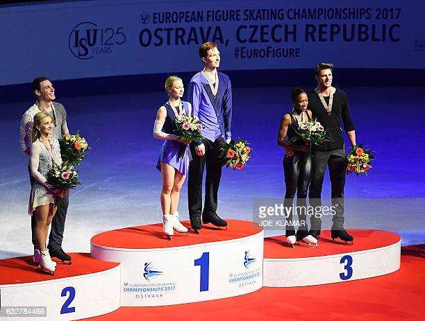Second placed Germany's Aliona Savchenko and Bruno Massot winner Russia's Evgenia Tarasova and Vladimir Morozov and third placed France's Vanessa...