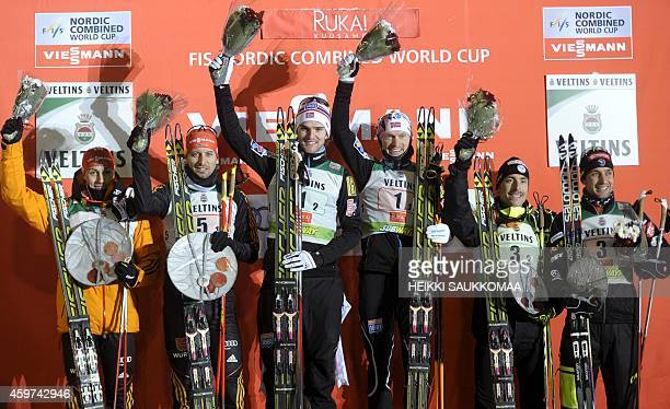 Second placed Germany's Eric Frenzel and Bjoern Kircheisen winner Norway's Joergen Graabak and Haavard Klemetsen and third placed France's Francois...