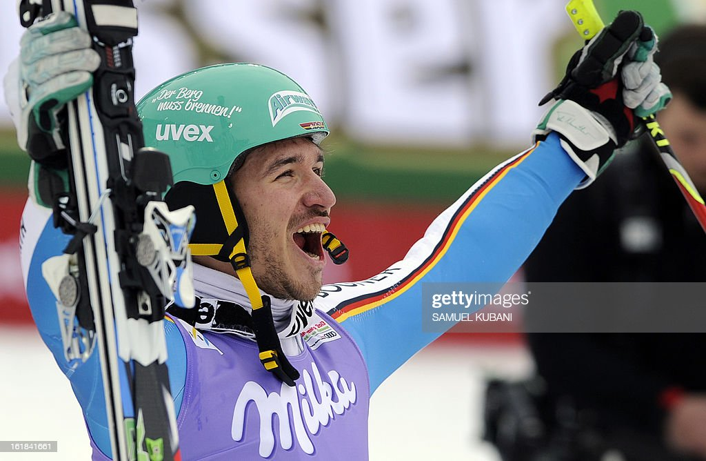 Second placed Germany's Felix Neureuther celebrates after the men's slalom at the 2013 Ski World Championships in Schladming, Austria on February 17, 2013.