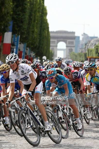 Second placed in the overall standings Danish cycling team Team Saxo Bank 's leader Andy Schleck of Luxemburg speeds down on July 26 2009 on the...