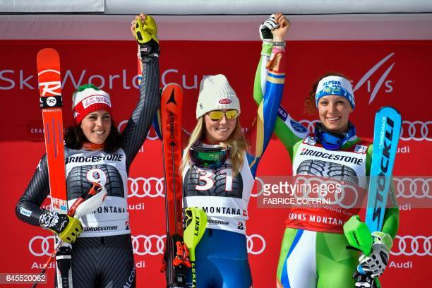 Second placed Italy's Federica Brignone winner US skier Mikaela Shiffrin and third placed Slovenia's Ilka Stuhec pose during the podium ceremony of...