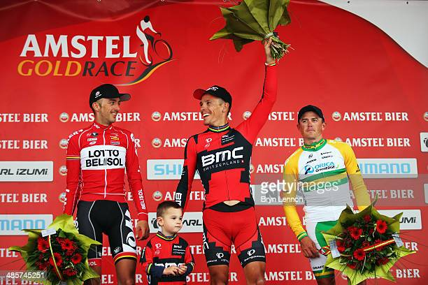 second placed Jelle Vanendert of Belgium and Lotto Belisol son of Phillipe Gilbert Alan Gilbert winner Philippe Gilbert of Belgium and BMC Racing...