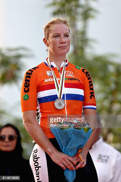 Second placed Kirsten Wild of Netherlands on the podium after the Elite Womens Road Race on Day Seven of the UCI Road World Championships at The...