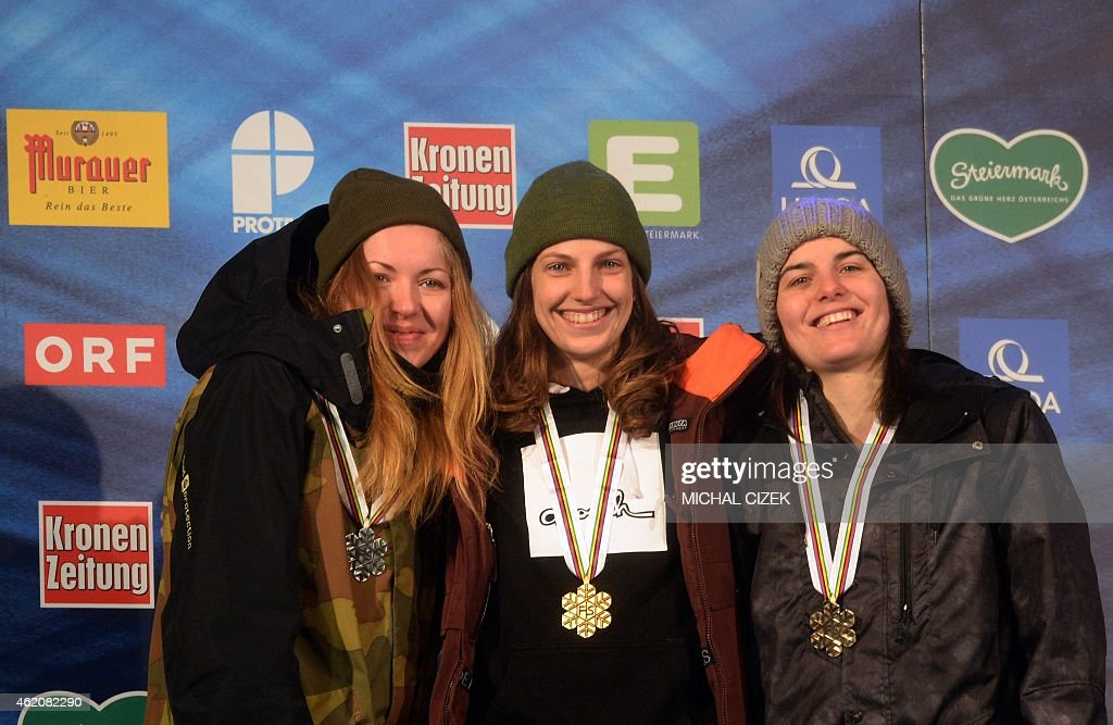 Second placed Merika Enne of Finland, winner Elena Koenz of Switzerland and third placed <a gi-track='captionPersonalityLinkClicked' href=/galleries/search?phrase=Sina+Candrian&family=editorial&specificpeople=6837040 ng-click='$event.stopPropagation()'>Sina Candrian</a> of Switzerland celebrate on the podium after the Women's Big Air Finals of FIS Freestyle and Snowboarding World Ski Championships 2015 in Kreischberg, Austria on January 24, 2015.