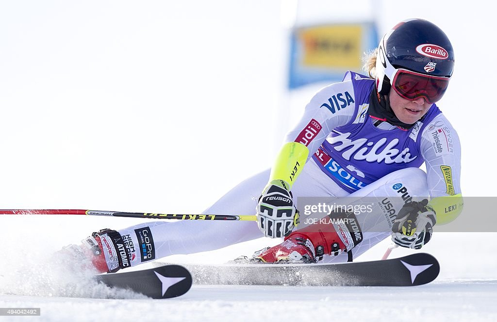 Second placed Mikaela Shiffrin of the US competes in the first run of the Women's Giant Slalom at the season's opening of the FIS Ski World cup in...