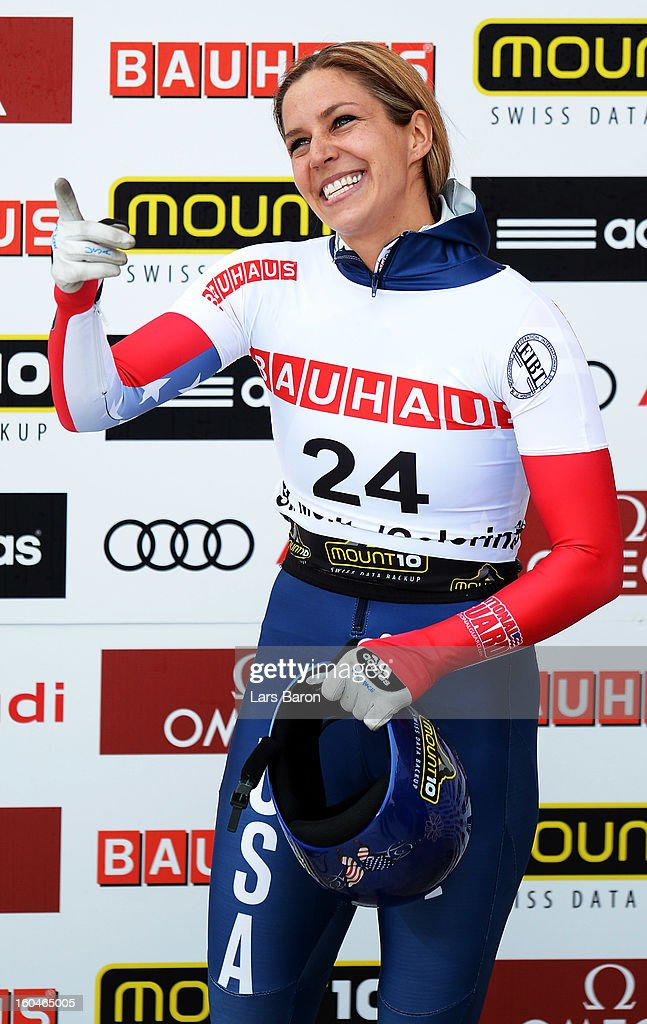Second placed Noelle Pikus Pace of USA celebrates after the women's skeleton final heat of the IBSF Bob & Skeleton World Championship at Olympia Bob Run on February 1, 2013 in St Moritz, Switzerland.
