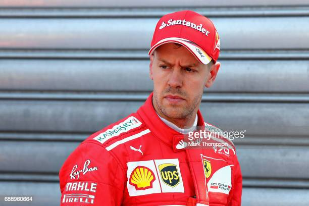 Second placed qualifier Sebastian Vettel of Germany and Ferrari in parc ferme during qualifying for the Monaco Formula One Grand Prix at Circuit de...
