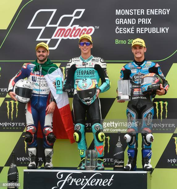 Second placed Romano Fenati of Italy winner Joan Mir of Spain and third placed Aron Canet of Spain pose on podium after the Moto3 event of the Grand...
