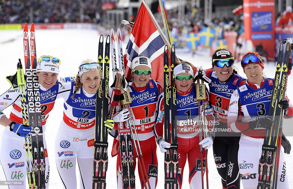 Second placed Team Sweden's <a gi-track='captionPersonalityLinkClicked' href=/galleries/search?phrase=Ida+Ingemarsdotter&family=editorial&specificpeople=5640296 ng-click='$event.stopPropagation()'>Ida Ingemarsdotter</a> and <a gi-track='captionPersonalityLinkClicked' href=/galleries/search?phrase=Stina+Nilsson&family=editorial&specificpeople=10116472 ng-click='$event.stopPropagation()'>Stina Nilsson</a>, winner Team Norway's <a gi-track='captionPersonalityLinkClicked' href=/galleries/search?phrase=Ingvild+Flugstad+Oestberg&family=editorial&specificpeople=7427144 ng-click='$event.stopPropagation()'>Ingvild Flugstad Oestberg</a> and <a gi-track='captionPersonalityLinkClicked' href=/galleries/search?phrase=Maiken+Caspersen+Falla&family=editorial&specificpeople=5646017 ng-click='$event.stopPropagation()'>Maiken Caspersen Falla</a>, third placed Team Poland's Justyna Kowalczyk and Sylwia Jaskowiec react at the finish line of the ladies cross-country 6 x1,2 km free team sprint final during the 2015 FIS Nordic World Ski Championships in Falun, Sweden, on February 22, 2015. AFP PHOTO / JONATHAN NACKSTRAND