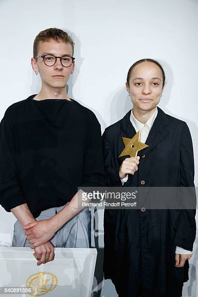 Second Prize Vejas Kroszewski and Winner of Prize Grace Wales Bonner attend the LVMH Prize 2016 Young Fashion Designer at Fondation Louis Vuitton on...