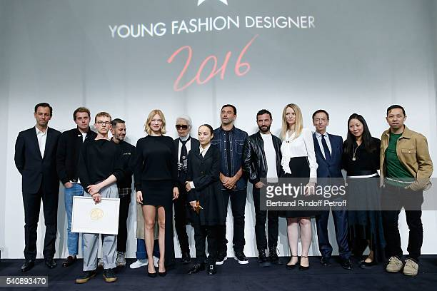 Second Prize Vejas Kroszewski Lea Seydoux Winner of Prize Grace Wales Bonner and Delphine Arnault and Jury attend the LVMH Prize 2016 Young Fashion...