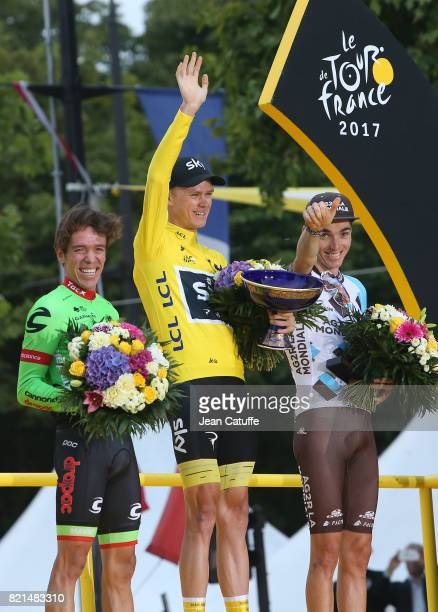 Second Rigoberto Uran of Colombia and CannondaleDrapac winner Christopher Froome of Great Britain and Team Sky third Romain Bardet of France and AG2R...