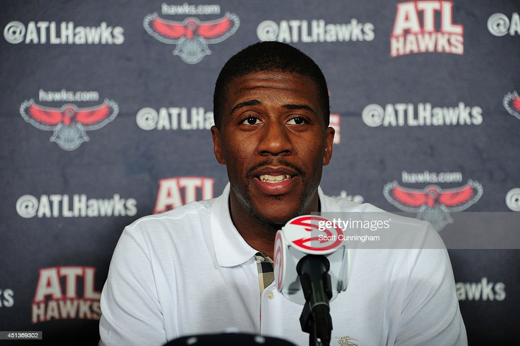 Second round pick <a gi-track='captionPersonalityLinkClicked' href=/galleries/search?phrase=Lamar+Patterson&family=editorial&specificpeople=6480704 ng-click='$event.stopPropagation()'>Lamar Patterson</a> of the Atlanta Hawks speaks during a press conference introducing the Hawks 2014 picks on June 27, 2014 at Philips Arena in Atlanta, Georgia.