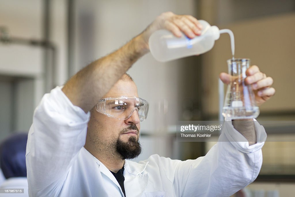 A second semester student in the nutrition technology department seen here working on acid base volumetric analysis at the Beuth technical college on October 31, 2013 in Berlin, Germany.
