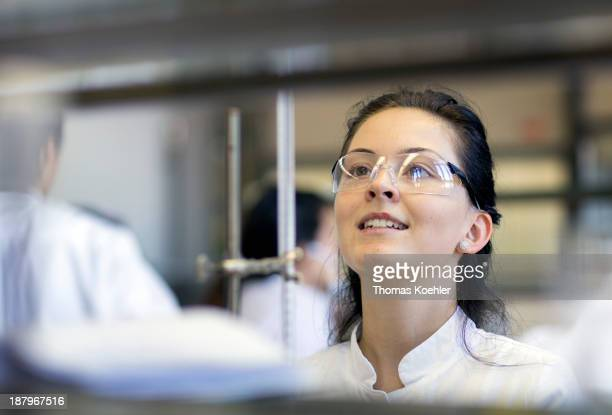 A second semester student in the nutrition technology department seen here working on acid base volumetric analysis at the Beuth technical college on...