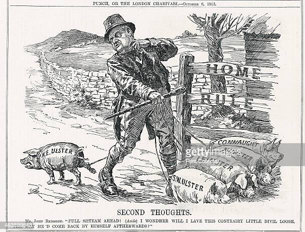 'Second Thoughts' 1913 John Redmond Irish politician having trouble with Protestant northeast Ulster which opposed Home Rule Cartoon from Punch