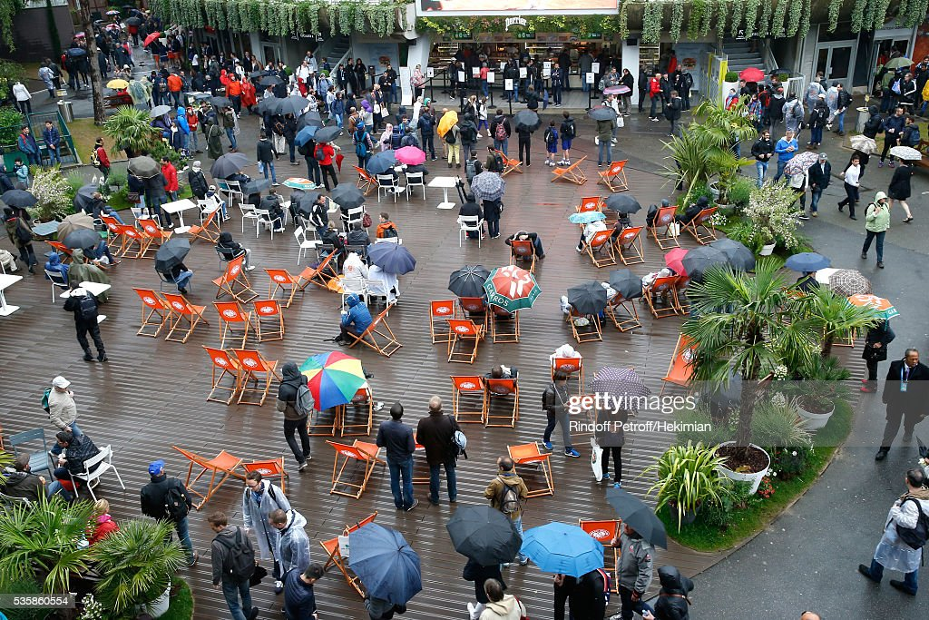 Second time in Roland Garros Tournament history that a full day is canceled - Illustartion view of the 'Place des Mousquetaires' under the rain during Day Nine of the 2016 French Tennis Open at Roland Garros on May 30, 2016 in Paris, France.
