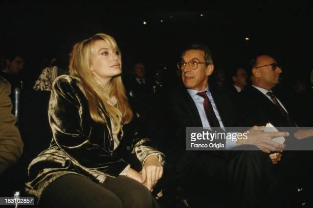 Second wife of the Prime Minster Silvio Berlusconi Veronica Lario and Mondadori CEO Franco Tato attend the presentation of the John Paul II's book...
