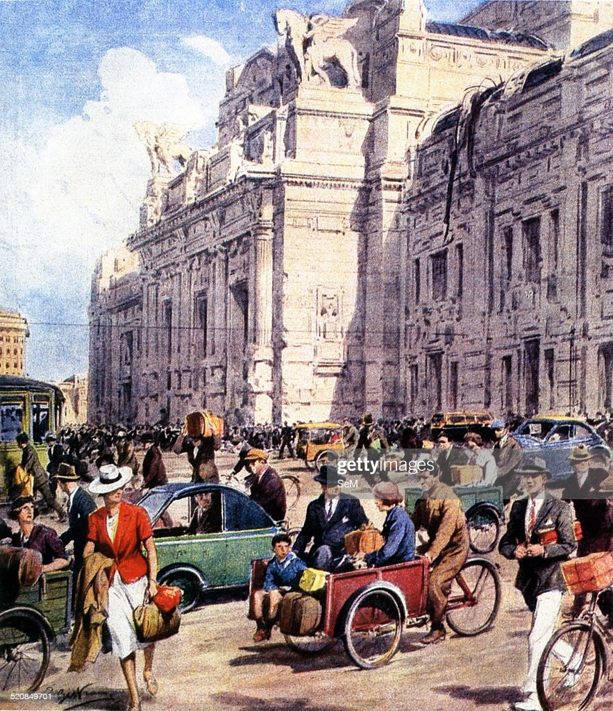 Second World WarFascism Milan Italy in 1943 and bicycle traffic in Milan during the first months of 1943su an illustration of La Domenica del Corriere