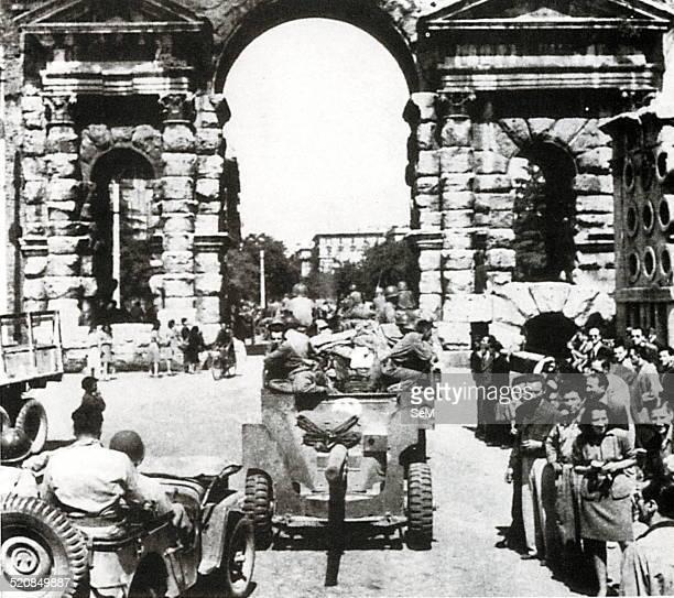 Second World WarItalian Campaign in June 1944 Americans enter Rome from the Porta Maggiore June 4 1944