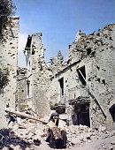 Second World WarWar in Italy 1943 1944 Old left homeless in a country destroyed by war in southern Italy during the Allied operations in 1943