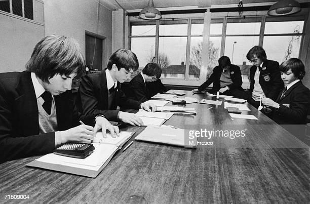 Secondary school pupils at Kettering Grammar School in Kettering Northamptonshire December 1976