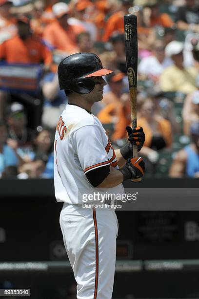 Secondbaseman Brian Roberts of the Baltimore Orioles waits to step into the batter's box during the bottom of the third inning of a game on July 30...