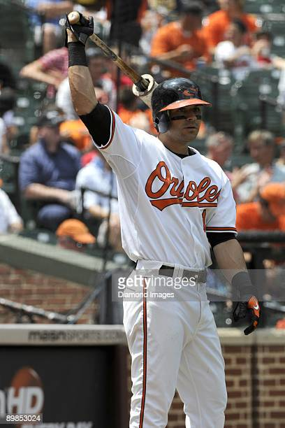 Secondbaseman Brian Roberts of the Baltimore Orioles warms up in the on deck circle during the bottom of the third inning of a game on July 30 2009...