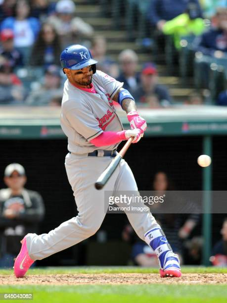 Secondbaseman Christian Colon of the Kansas City Royals bats during a game against the Cleveland Indians on May 8 2016 at Progressive Field in...