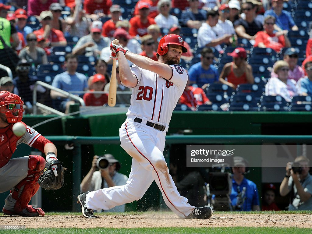 Secondbaseman Daniel Murphy of the Washington Nationals fouls off a pitch during a game on June 11 2016 against the Philadelphia Phillies at...