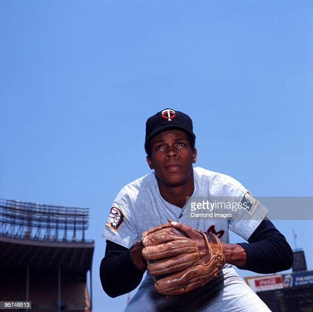 Secondbaseman Rod Carew of the Minnesota Twins poses for a portrait prior to a game circa 1969 against the Cleveland Indians at Municipal Stadium in...