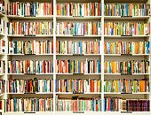 Shelves and hundreds of books at a second-hand bookstore.