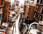 second-hand bookstore used bookstore full of messy books over the place
